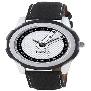 Crazeis Black Starp White Round Dial Casual-Formal Watch For Men-Boys