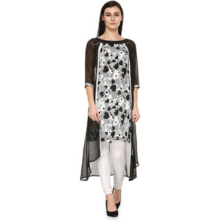 Enchanted Drapes Black Stitched Kurti For Women