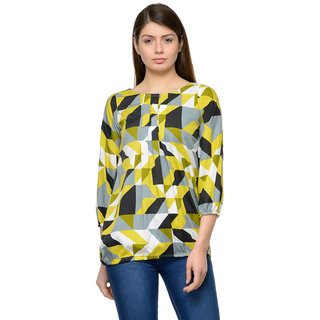 Enchanted Drapes Yellow 3/4th Sleeves Basic Top For Women
