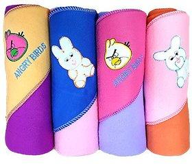 BRANDONN Newborn Premium Quality Rainbow 4Pc A/C Baby Blanket Cum Baby Wrapper(Pack Of 4 , Assorted)