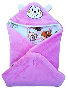 BRANDONN FASHIONS ANGRY BIRD Printed Hooded Blanket cum Wrapper for Babies (Pink)