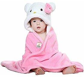 Brandonn Pink-White Hooded Premium Baby Blanket