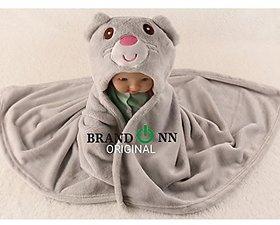 BRANDONN Newborn Fancy Cartoon Hooded Baby Blanket For Babies(Rich Grey)