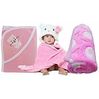 BRANDONN Combo Of Printed Shawl Spread , Hooded Cute Blanket amp Premium Baby Blanket Cum Wraping Towel (Pack Of 3 , PINK amp WHITE )
