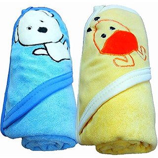 BRANDONN 2PCS Quick Dry Double Ply Cartoon Hooded Baby Bath Towel(Pack Of 2 Blue-Mango)