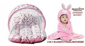 Brandonn Premium Combo Of Baby Bedding With Mosquito Net And Hooded Baby Blanket