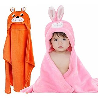 BRANDONN NEWBORN Original 3 In 1 Premium Quality Supersoft Combos Baby Blanket / Baby Bath Towel / Baby BathGown For Babies(PACK OF 2)