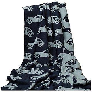 BRANDONN Fashions Car Knitted Baby Blanket 100cm x 80cm (Navy amp Grey)