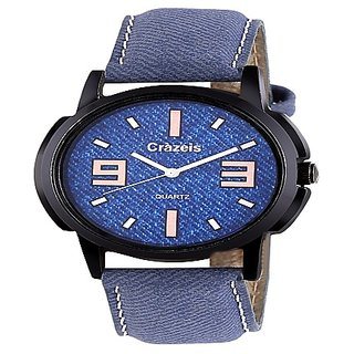 Crazeis Blue Dial Blue Strap Casual-PartyWear Watch for Men-Boys-MD25