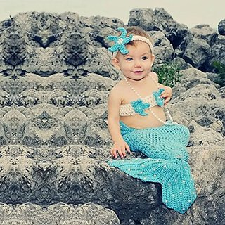 Kuhu Creations New Born Baby Handmade Photography Knitted Prop. (Mermaid Light Sky Blue (With Pearl))