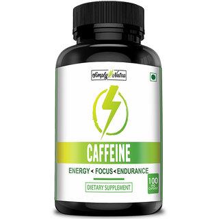 Simply Nutra Caffeine for Energy, Focus  Endurance 200mg - 100 Veg Capsules