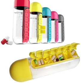 kudos 7Day Medicine Tablet Pill Box Storage Case Container Water Bottle Outdoor Hiking ( pack of 1 )