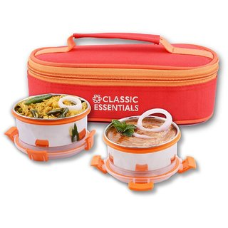 Crisp 2 adjustable sling Bag Stainless Steel Lunch Box With Clip Lock Leak Proof Containers Dishwasher- freezer- and microwave-safe (2x300 ml Container Set)