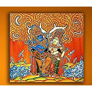 P p d canvas painting radha krishna under the orange for Average cost of mural painting