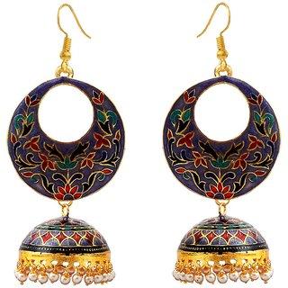 Buy Meenakari Gold Plated Big Bali Dangler Tokra Jhumka Earrings For