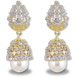 Karatcart GoldPlated American Diamonds Jhumki For Women