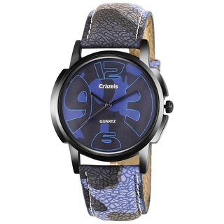 Crazeis Blue  Black Round Dial Casual-PartyWear Watch For Men-Boys