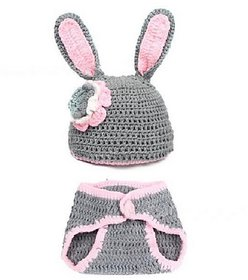 Kuhu Creations New Born Baby Very Cute Handmade Photography Knitted Prop. (Grey Rabbit Style)