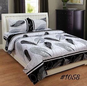 Choco White Patti AH MON Double Bedsheet With 2 Full size pillow Cover Pack of 1