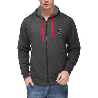 Scott Mens Premium Rich Cotton Sweatshirt with Flocking Letter - Charcoal Grey