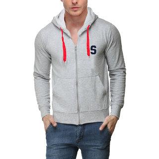 Scott Mens Premium Rich Cotton Sweatshirt with Flocking Letter - Grey