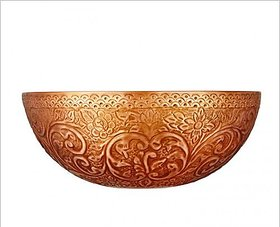 Remac Matilda Round Embossed Antique Copper Double Wall Vessel Sink