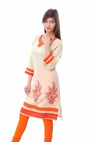 Zhiraa Beige Embroidered Kurti For Women
