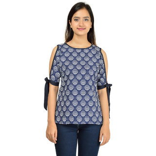Timbre Party Wear Stylish Knot Sleeves Blue Crepe Top For Women / Girls / Ladies
