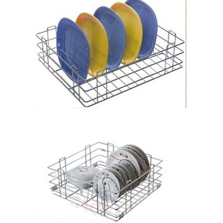 Reviko modular kitchen basket Thali basket Size 17x20x8 inch  Plate kitchen basket size 17x20x6 inch / All kitchen us