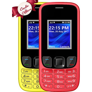 Combo of IKall K29 (Dual Sim, 1.8 Inch Display, 1800 Mah Battery, Yellow and Red)