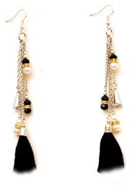 Zurii Stylish Hanging Black Chain Earrings