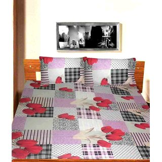 ROSE STYLE BEDSHEET SHEET ( 1 BED SHEET, 2 PILLOW COVER )