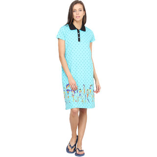 2405a58164 Buy Nuteez Blue Cotton Printed Night Gowns   Nighty Online - Get 50% Off