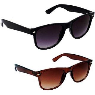 Victoria Secret Unisex Wayfarer UV Protected Sunglasses Combo (Black Brown)
