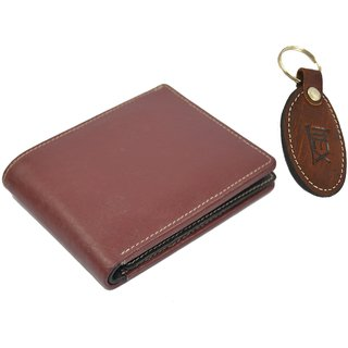 Imex Mens Maroon Leather wallet and Brown Keyring (Combo Of 2)