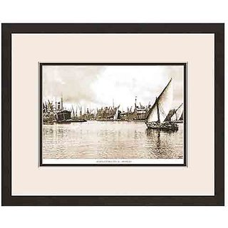 Old Vintage Bombay (Mumbai) Wooden Photo Frame of View of Alexandra Dock
