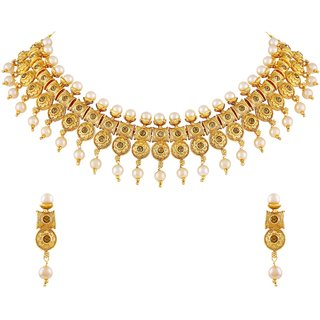 dd4b2b8f6671a Buy Asmitta Traditional Flower Design Gold Plated Choker Style Necklace Set  For Women Online - Get 71% Off