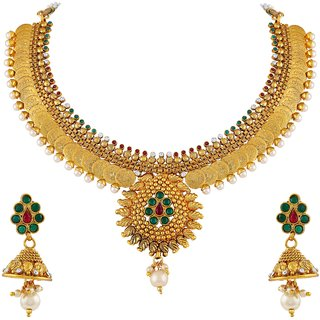 3eecb25a5bfed Buy Asmitta Laxmi Coin Gold Plated Choker Style Copper Necklace Set For Women  Online - Get 71% Off