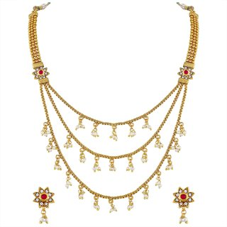 e60b6c3fa25ab Buy Asmitta Flower Design Gold Plated Matinee Style Copper Necklace Set For Women  Online - Get 74% Off