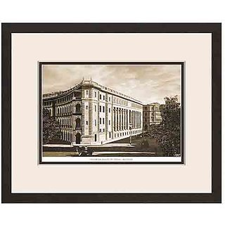 Old Vintage Bombay (Mumbai) Wooden Photo Frame of View of Imperial Bank of India