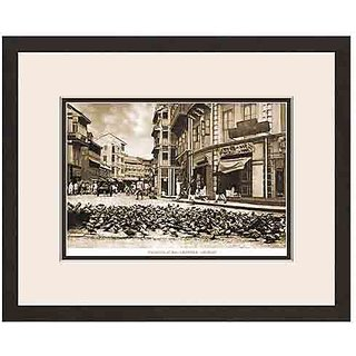 Old Vintage Bombay (Mumbai) Wooden Photo Frame of View of Pigeons at Bhuleshwar