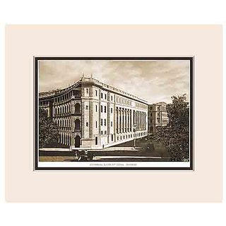 Old Vintage Bombay (Mumbai) Mounted Photo Frame of View of Imperial Bank of India