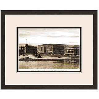 Old Vintage Bombay (Mumbai) Wooden Photo Frame of View of Post Trust & Custom House office at Ballard Pier