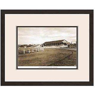Old Vintage Bombay (Mumbai) Wooden Photo Frame of View of Mahalaxmi Racecourse