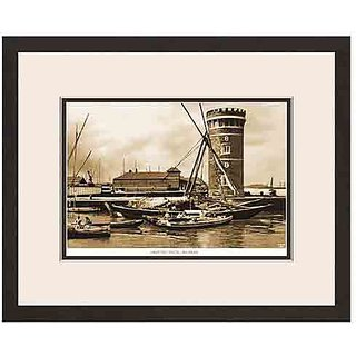 Old Vintage Bombay (Mumbai) Wooden Photo Frame of View of Prince's Dock