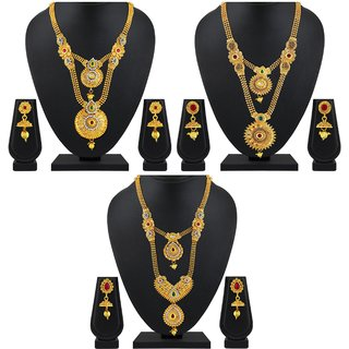 85ba045ced31e Buy Asmitta Traditional Jalebi Design Gold Plated Set Of 3 Matinee Necklace  Set Combo For Women Online - Get 73% Off