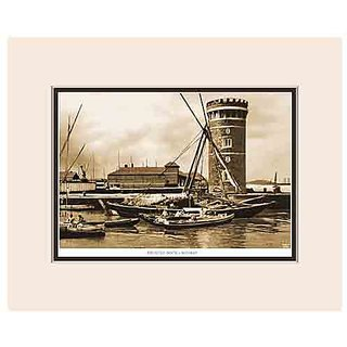 Old Vintage Bombay (Mumbai) Mounted Photo Frame of View of  Prince's Dock