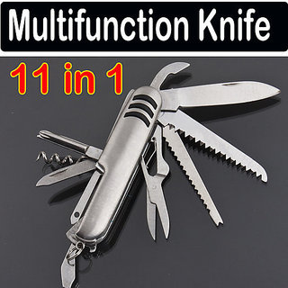 OMCY 11 in 1 Stainless Multifunctional Army Knife Saw Tool Set