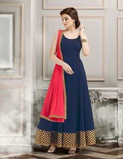 Fabdiwa Fashion designer  navy blue Grorgett long Anarkali suit (Unstitched)