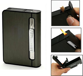 MOCOMO Imported 2 in 1 Automatic Cigarette Holder Dispenser Case and Refillabe Gas Lighter
